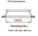 GFK Aufsatzkranz 1000x1000 mm, Höhe 150 mm mit Scharnieren (9349000008)