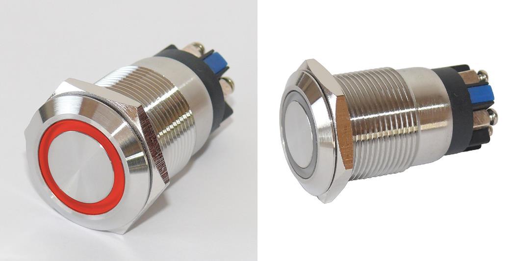 Vollmetalltaster mit Schraubösen 19mm Ringbeleuchtung rot, Schließer, Klingeltaster, Taster, Drucktaster, Tastknopf (9029206177)