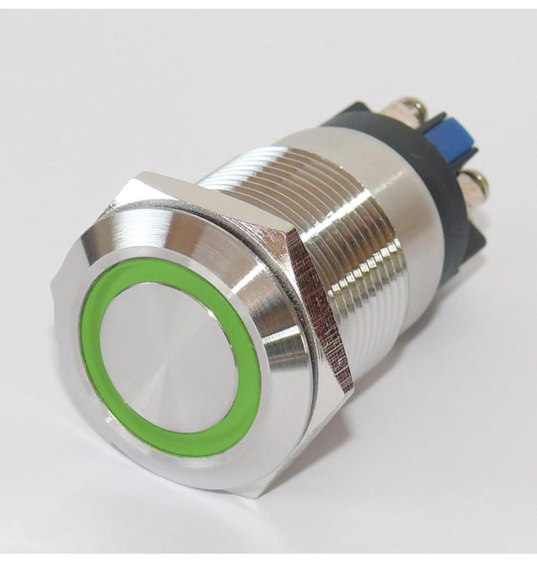 Vollmetalltaster mit Schraubösen 19mm Ringbeleuchtung grün, Schließer, Klingeltaster, Taster, Drucktaster, Tastknopf (9029206178)