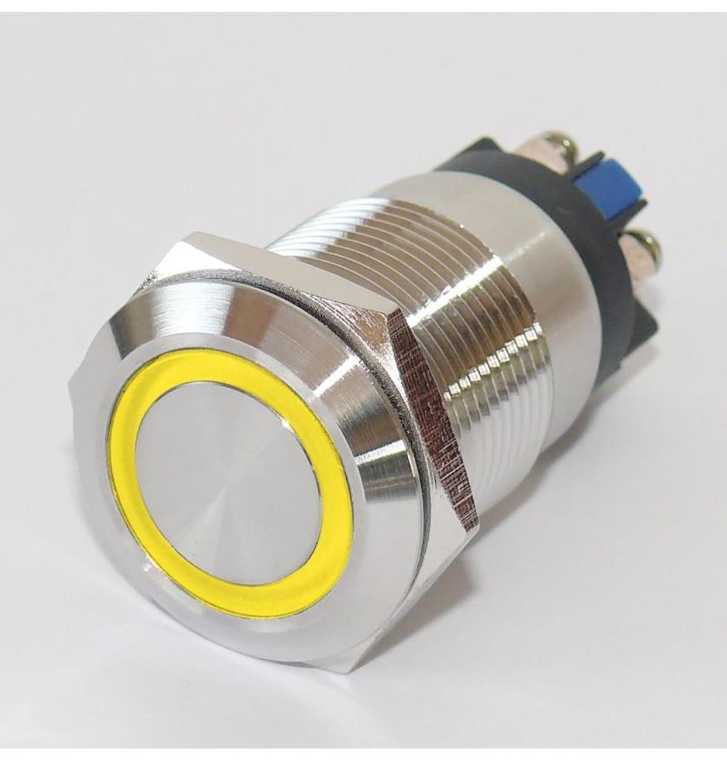Vollmetalltaster mit Schraubösen 19mm Ringbeleuchtung gelb, Schließer, Klingeltaster, Taster, Drucktaster, Tastknopf (9029206179)