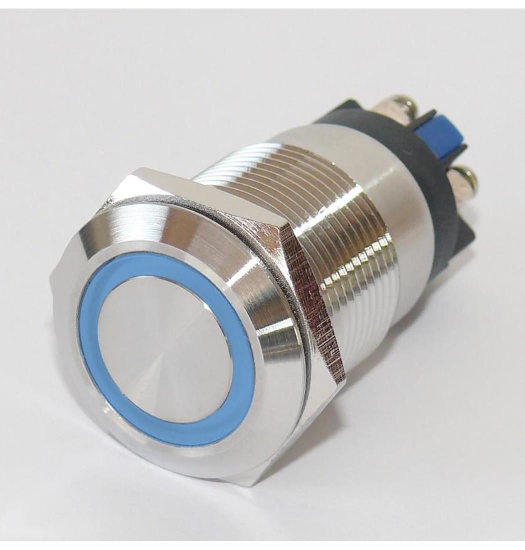 Vollmetalltaster mit Schraubösen 19mm Ringbeleuchtung blau, Schließer, Klingeltaster, Taster, Drucktaster, Tastknopf (9029206181)