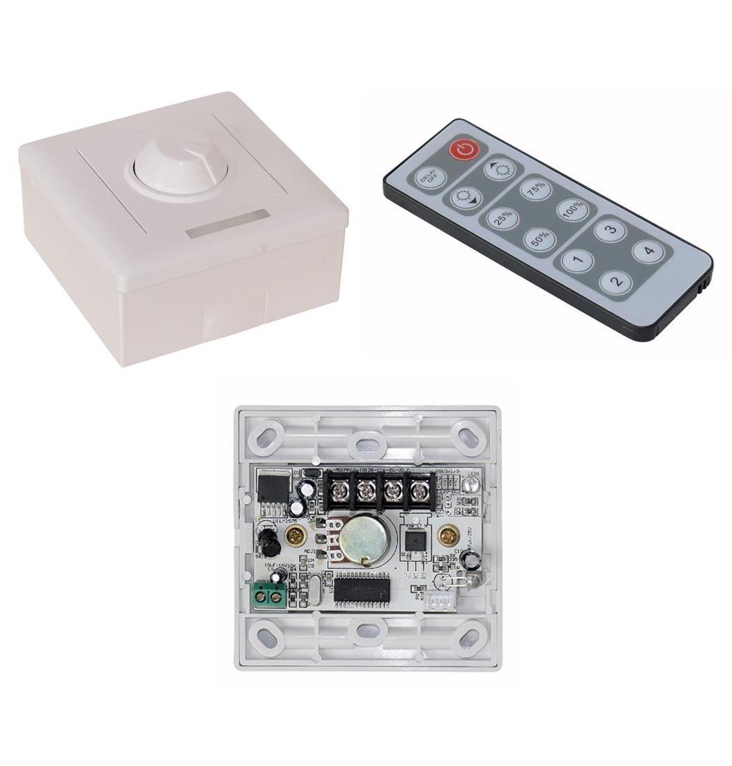 Aufputz-Dimmer für LED-Strips inkl. IR- Fernbedienung 12 V DC 8 A, Stripe, Lichterkette, Lichtstreifen (9029206205)