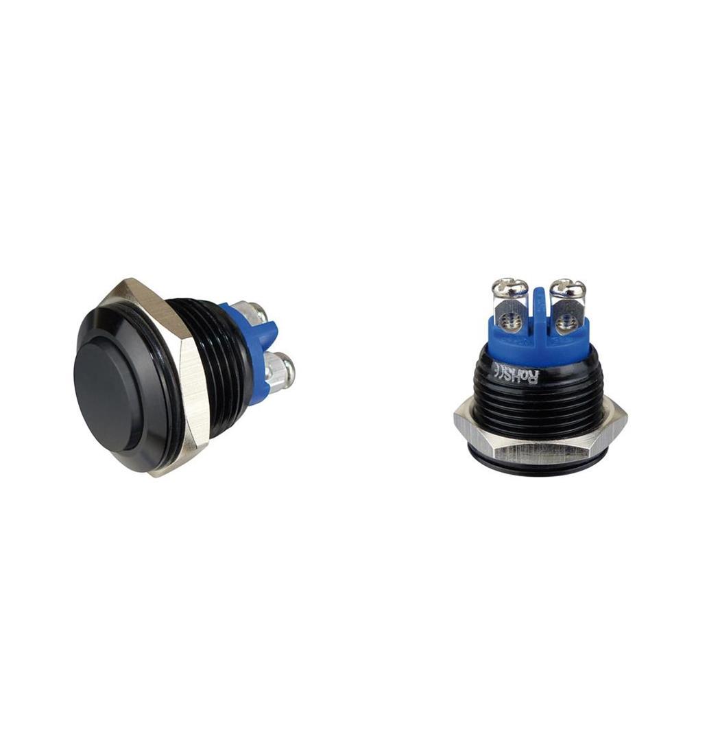 Aluminiumtaster 16 mm 1 x Schliesser schwarz, Tasterkopf flach (9029207365)