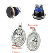 Aluminiumtaster 16 mm 1 x Schliesser schwarz, Tasterkopf flach, bündig (902977207456) mit Anhänger Herz Jesu 2,5cm