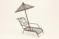 Miniatur Modell, Relaxliege mit Schirm, braun Höhe 15cm  (444444635096422)