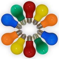10er-Set LED Birnen LEDmaxx 3W, farbig sortiert (rot-gelb-grün-blau-orange), E27 (9109105893)
