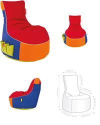 Sitzsack, Sitzkissen, Bean Bag, Classic Harlekin bunt mit weißem Keder 95x90x65cm (925930150098)
