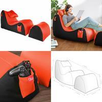 Sitzsack Set mit Hocker und Kopfkissen RX Fire schwarz mit orange-roter Mesh Oberfläche 66x55x164cm (925935593042)