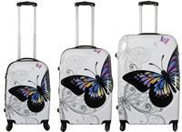 Kofferset 3tlg Butterfly Größen: 79cm / 68cm / 56cm, Aussenmaterial 100% Polycarbonat (933934449)