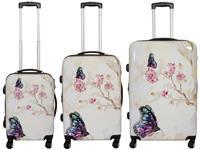 Kofferset 3tlg Butterfly II Größen: 77cm / 67cm / 53cm, Außenmaterial 100% Polycarbonat (933936911)