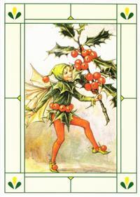 24er Pack Fee Grußkarte Flower-Fairy-Postkarten Stechpalme bunt Bildkarten (9359217053050)