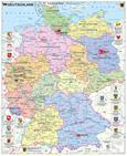 Deutschlandkarte Deutschland politisch mit Wappen, 97 x 119 cm als Poster (9709869610283)