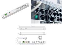 Bachmann 19 Zoll Steckdosenleiste 5x Schutzkontakt 1x Schalter GVS 1HE (333.403) (9969101986)