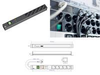 Bachmann 19 Zoll Steckdosenleiste 5x Schutzkontakt 1x Schalter GVS 1HE (333.537) (9969102001)