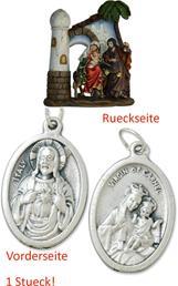 Krippenblock Heilige Familie auf der Flucht, Höhe 14,7cm  mit einem Anhänger Herz Jesu 2,5cm (4494411122)