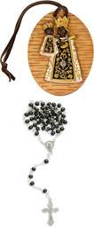 Amulett schwarzer Madonna mit Lederband Höhe 7,3cm mit Rosenkranz schwarz (4454412893)