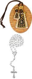 Amulett schwarzer Madonna mit Lederband Höhe 7,3cm mit Rosenkranz weiss (4434412893)