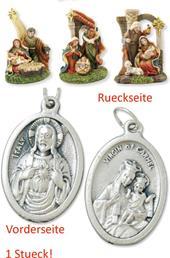 Krippenblock Heilige Familie 3tlg. Set Höhe 7,2cm mit einem Anhänger Herz Jesu 2,5cm (4494413788)