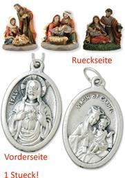Krippenblock Heilige Familie 3tlg. Set Höhe 6cm mit einem Anhänger Herz Jesu 2,5cm (4494413789)