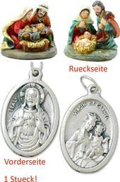 Krippenblock Heilige Familie 2tlg. Set Höhe 3,2cm mit einem Anhänger Herz Jesu 2,5cm (4494413791)