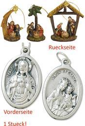 Krippenblock 3er Set mit Hänger Höhe 8,5cm Heiligenfiguren mit einem Anhänger Herz Jesu 2,5cm (4494414484)