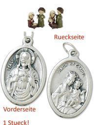 Heiligenfiguren Heilige Familie kindlich 2tlg.  6,5cm mit einem Anhänger Herz Jesu 2,5cm (4494414494)