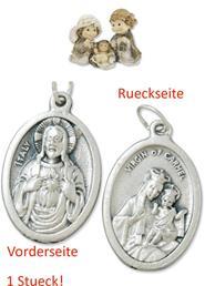 Heiligenfiguren Heilige Familie kindlich Höhe 9cm mit einem Anhänger Herz Jesu 2,5cm (4494414496)