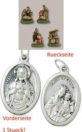 Krippenblock 4tlg. Heilige Familie Höhe 2,6cm mit einem Anhänger Herz Jesu 2,5cm (4494419666)
