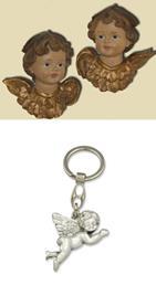 Schutzengel Engelsköpfe 2er Set, Höhe ca. 3cm mit Schlüsselanhänger Engel fliegend (4414456)