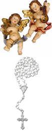 Schutzengel Wandengel Harfe und Laute, 2er Set, Höhe 22cm mit Rosenkranz weiss (4434468)