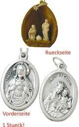 Heilige Familie in Walnuss, Höhe 4,5cm,  mit einem Anhänger Herz Jesu 2,5cm (44944830)