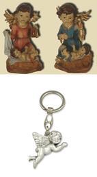 Schutzengel Engel mit Kind 2er Set, Höhe 10cm mit Schlüsselanhänger Engel fliegend (4414489)