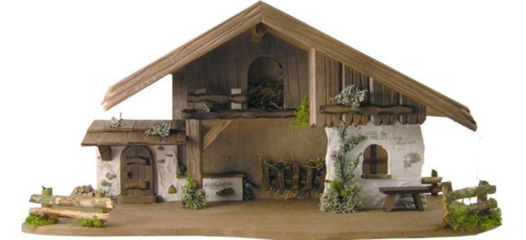 Krippenstall Stall 70x30x33cm geeignet für 11-13cm Figuren (441010)
