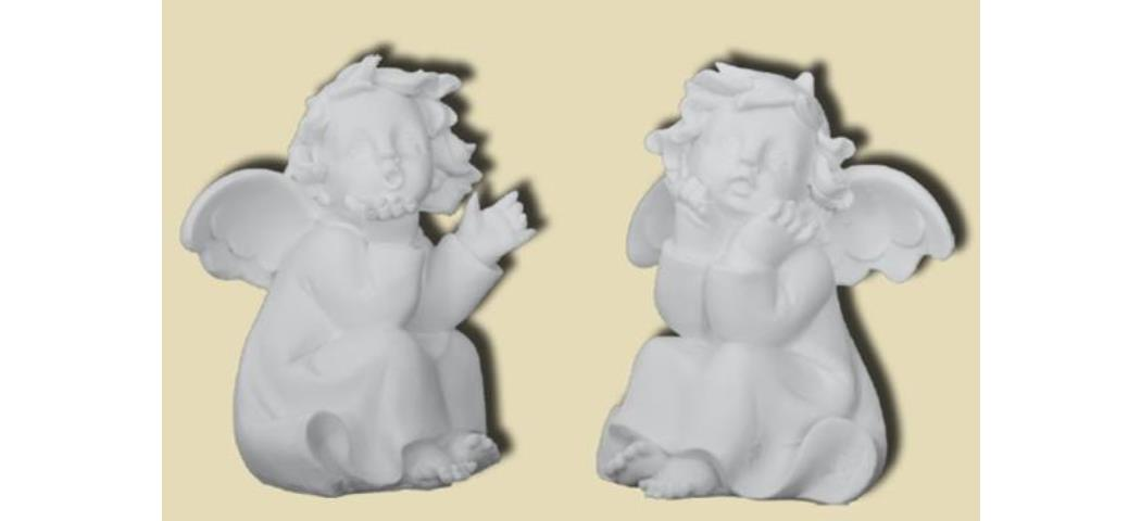 Schutzengel Engel sitzend, 2er Set, Höhe 11cm, handbemalen (44103)
