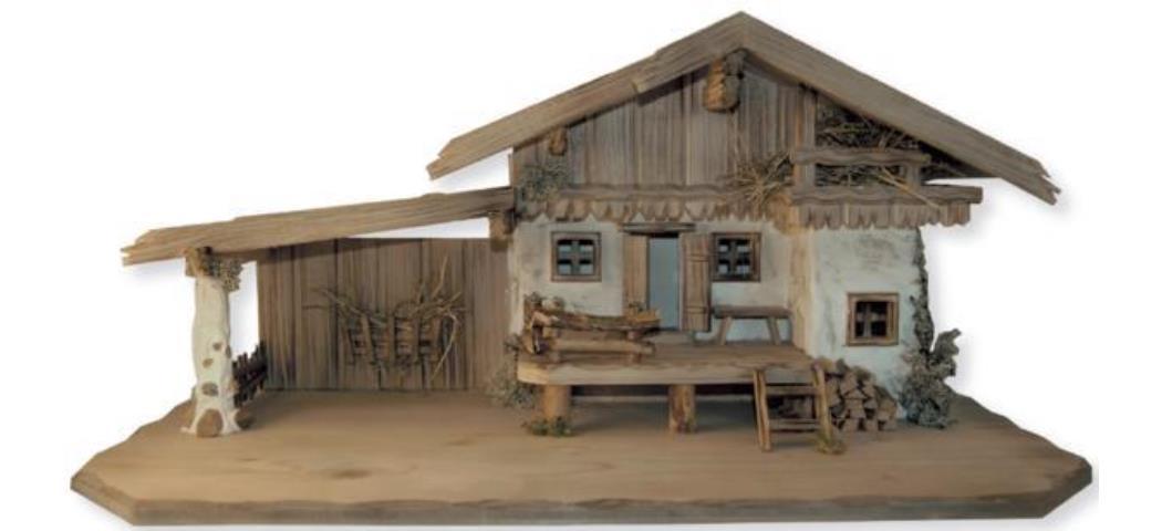 Krippenstall Stall 80x40x37,5cm geeignet für 11-18cm Figuren (441032)
