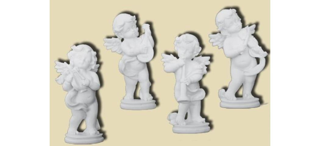 Schutzengel Engel musizierend, 4er Set, Höhe 9cm, handbemalen (44104)