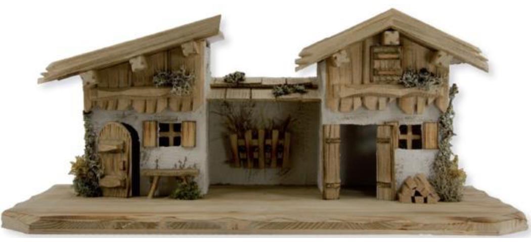 Krippenstall Stall 58x29x25cm geeignet für 8-10cm Figuren (441042)