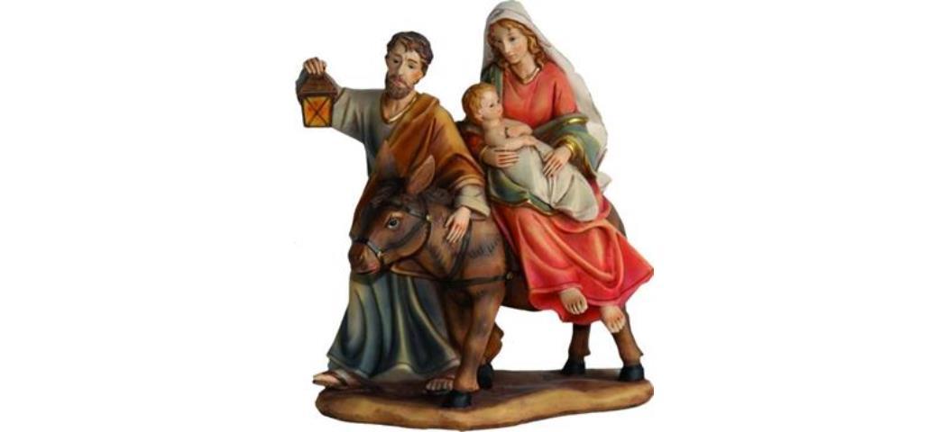 Krippenblock Heilige Familie auf der Flucht, Höhe 13,3cm handbemalen (4410944)