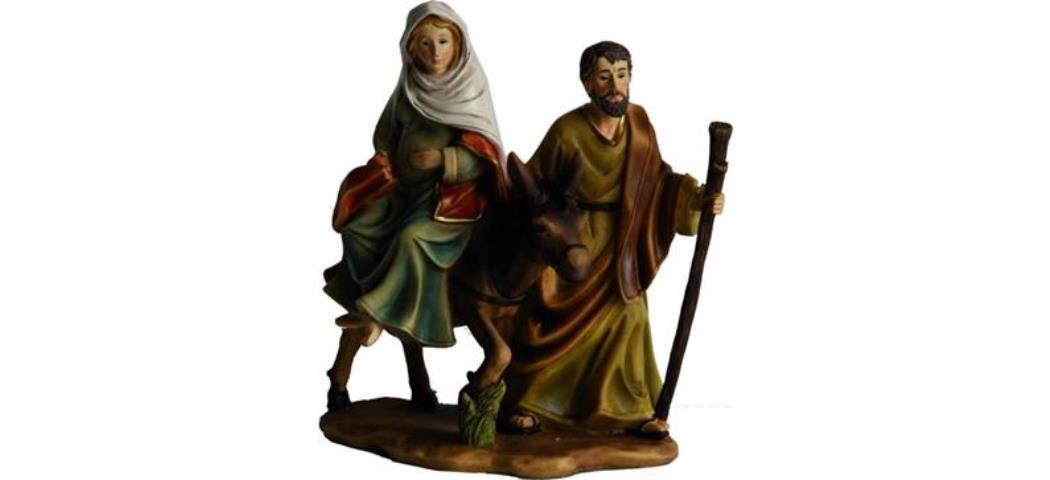 Krippenblock Heilige Familie Hergergsuche Höhe 18,5cm, handbemalen (4410946)