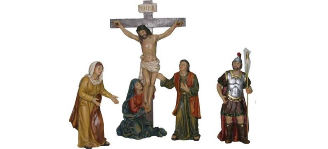 Krippenfiguren Passionsfigur Kreuzigung, geeignet für 9cm Figuren, handbemalen (4410958)