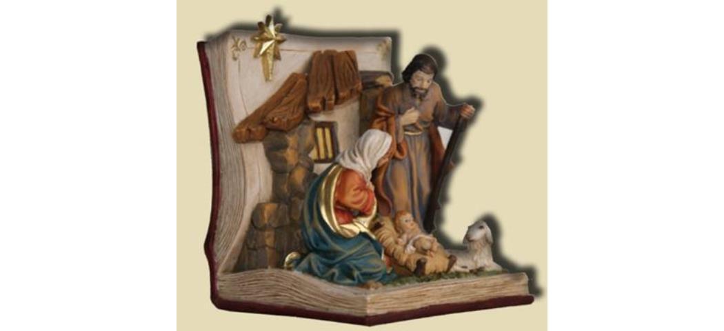 Heilige Familie im Buch, Höhe 11cm, handbemalen (4411024)