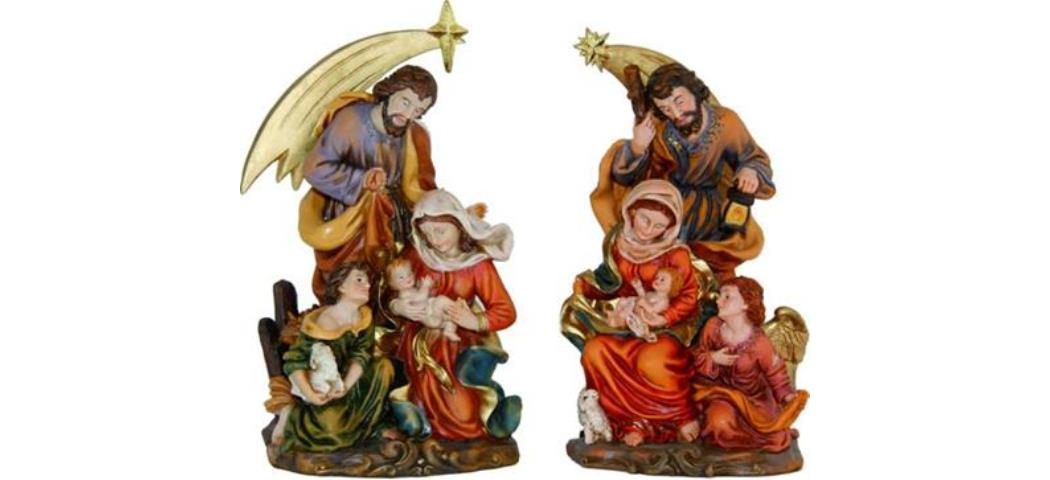 Krippenblock Heilige Familie, 2tlg., Höhe ca. 12,8cm handbemalen (4411078)