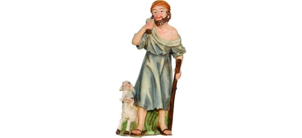 Krippenfiguren Schäfer, geeignet für 9-10cm Figuren, handbemalen (4411084)