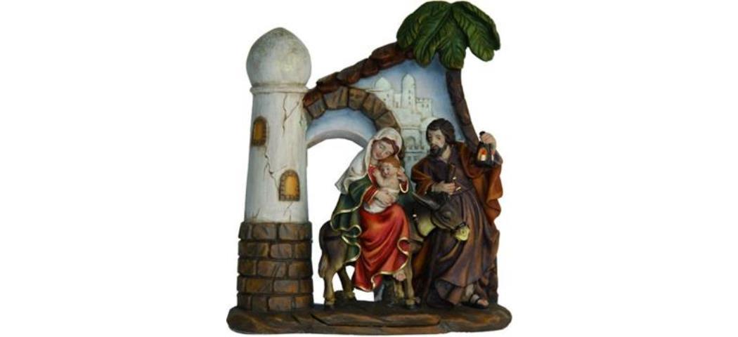 Krippenblock Heilige Familie auf der Flucht, Höhe 14,7cm handbemalen (4411122)