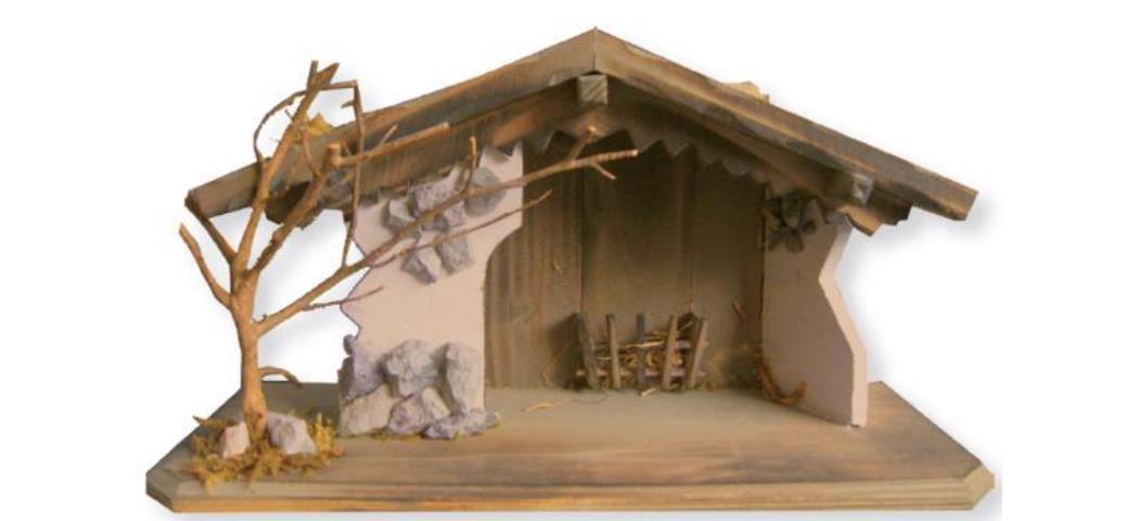 Krippenstall Stall 37x15x20,5cm für 6-10cm Figuren (4411131)
