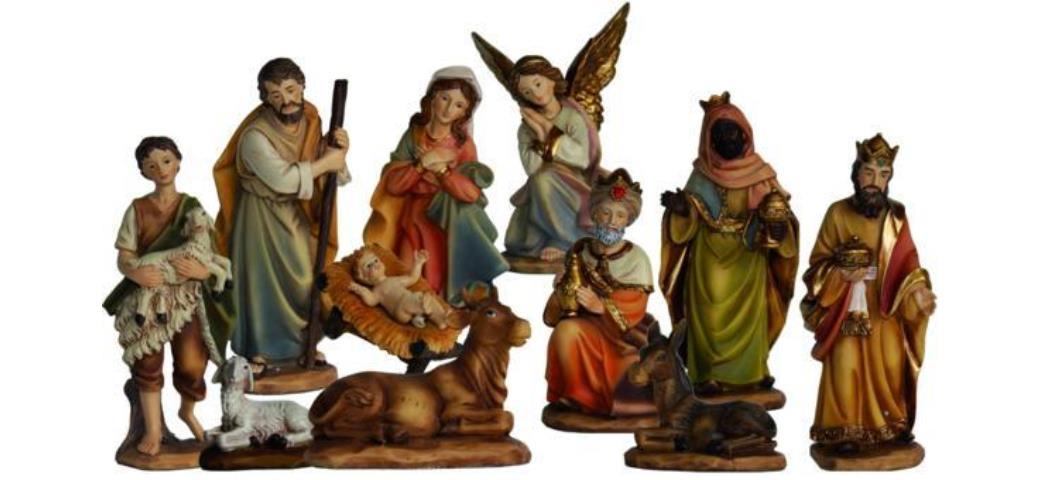 Krippenfiguren Markus-Krippe, 11tlg. geeignet für 7cm Figuren, handbemalen (4411201)