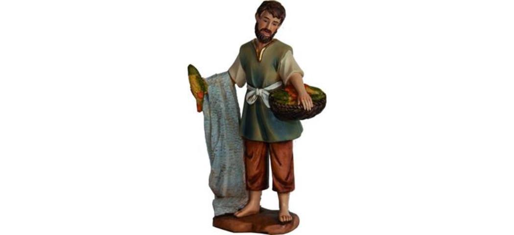 Krippenfiguren Fischer, geeignet für 9cm Figuren, handbemalen (4411240)
