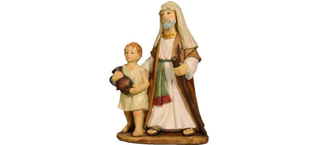 Krippenfiguren Tempelwächter mit Kind geeignet für 9cm Figuren, handbemalen  (4411263)