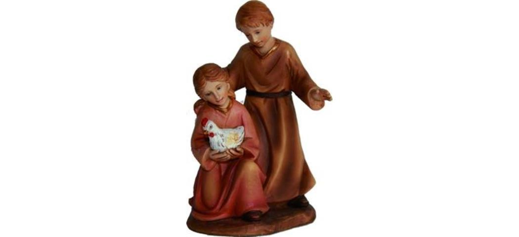 Krippenfiguren Kinderpaar mit Huhn, geeignet für 11cm Figuren (4411271)