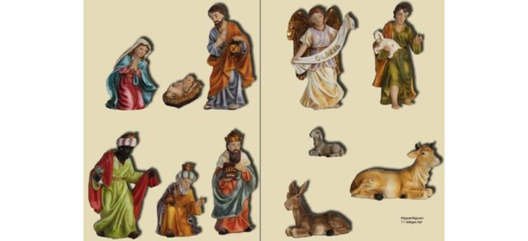 Krippenfiguren Krippenset 11tlg., geeignet für 9cm Figuren, handbemalen (4411289)